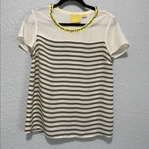 Anthropologie Maeve Bejeweled Neck Striped Top